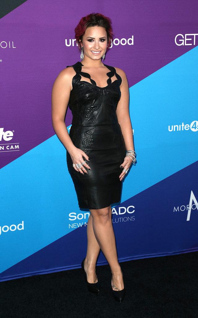 Demi Lovato stunned in black before receiving her award.