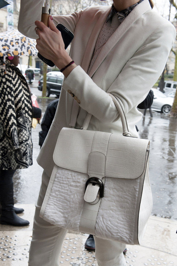 When you go white on white, make sure your handbag gets the memo.