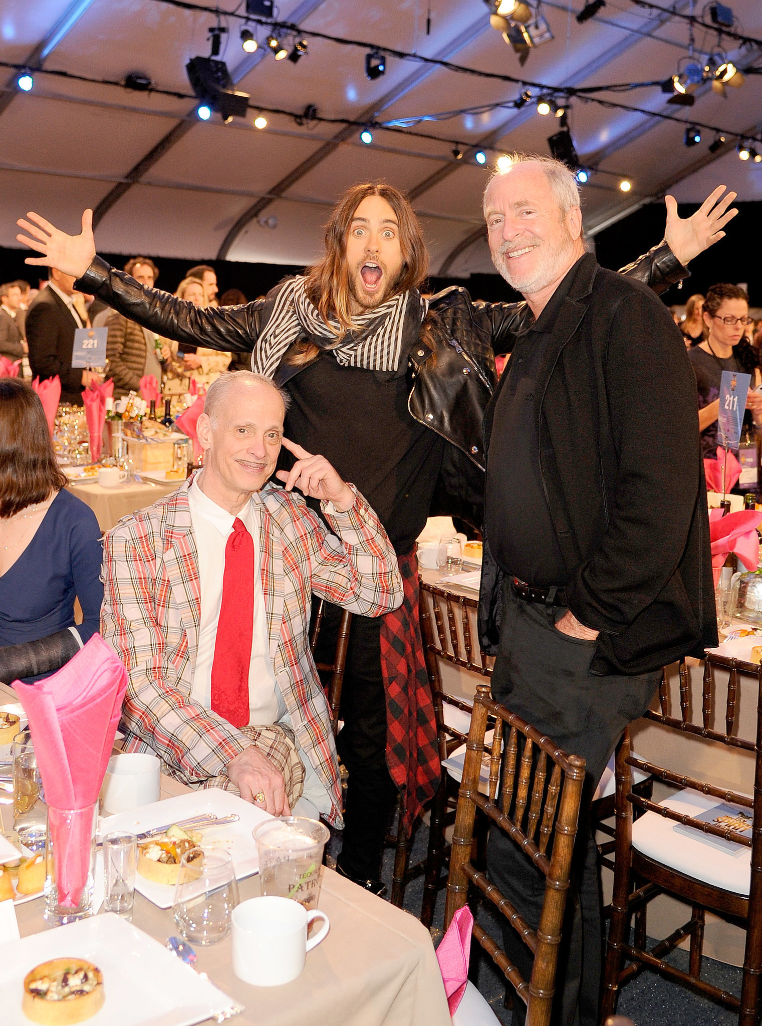 Jared Leto couldn't contain his excitement around John Waters and Greg Gorman.