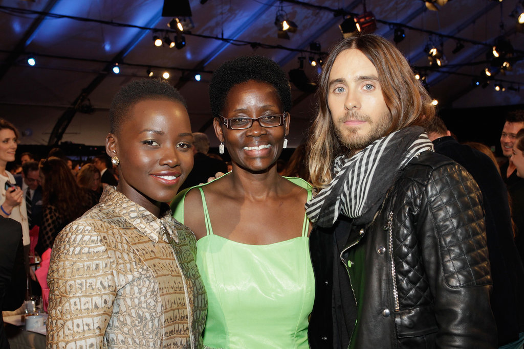 """Jared Leto took a photo with Lupita and her mother, Dorothy, at the Independent Spirit Awards (then he called Lupita his """"future ex-wife!)."""