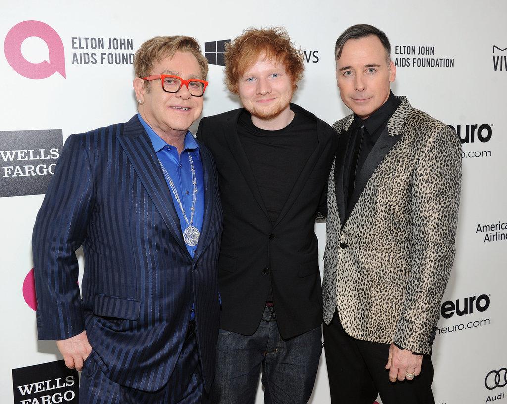 Elton John and his partner, David Furnish, posed with Ed Sheeran.