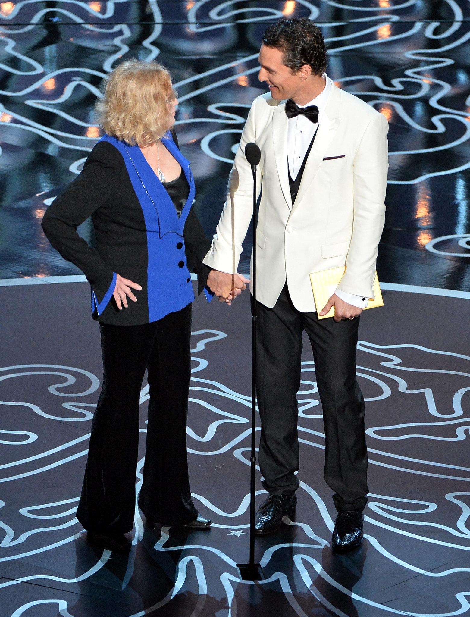 Matthew McConaughey held hands with Kim Novak as they presented an award.