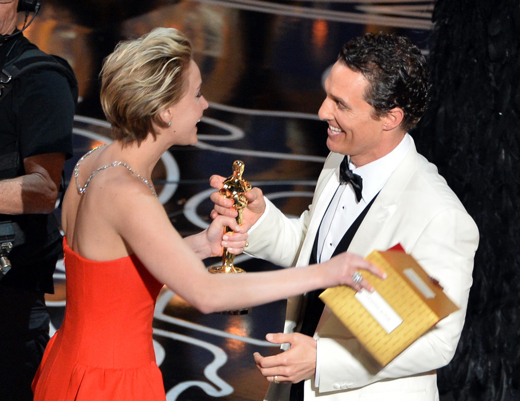 Jennifer Lawrence congratulated Matthew McConaughey on his best actor win.