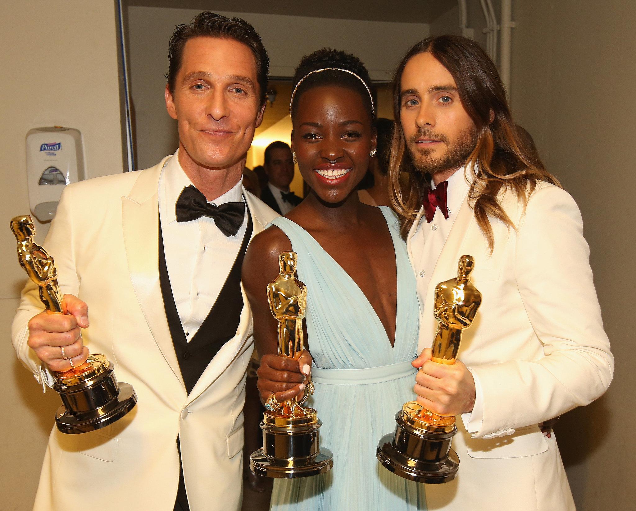 Matthew McConaughey and Jared Leto posed alongside Lupita Nyong'o with their awards.