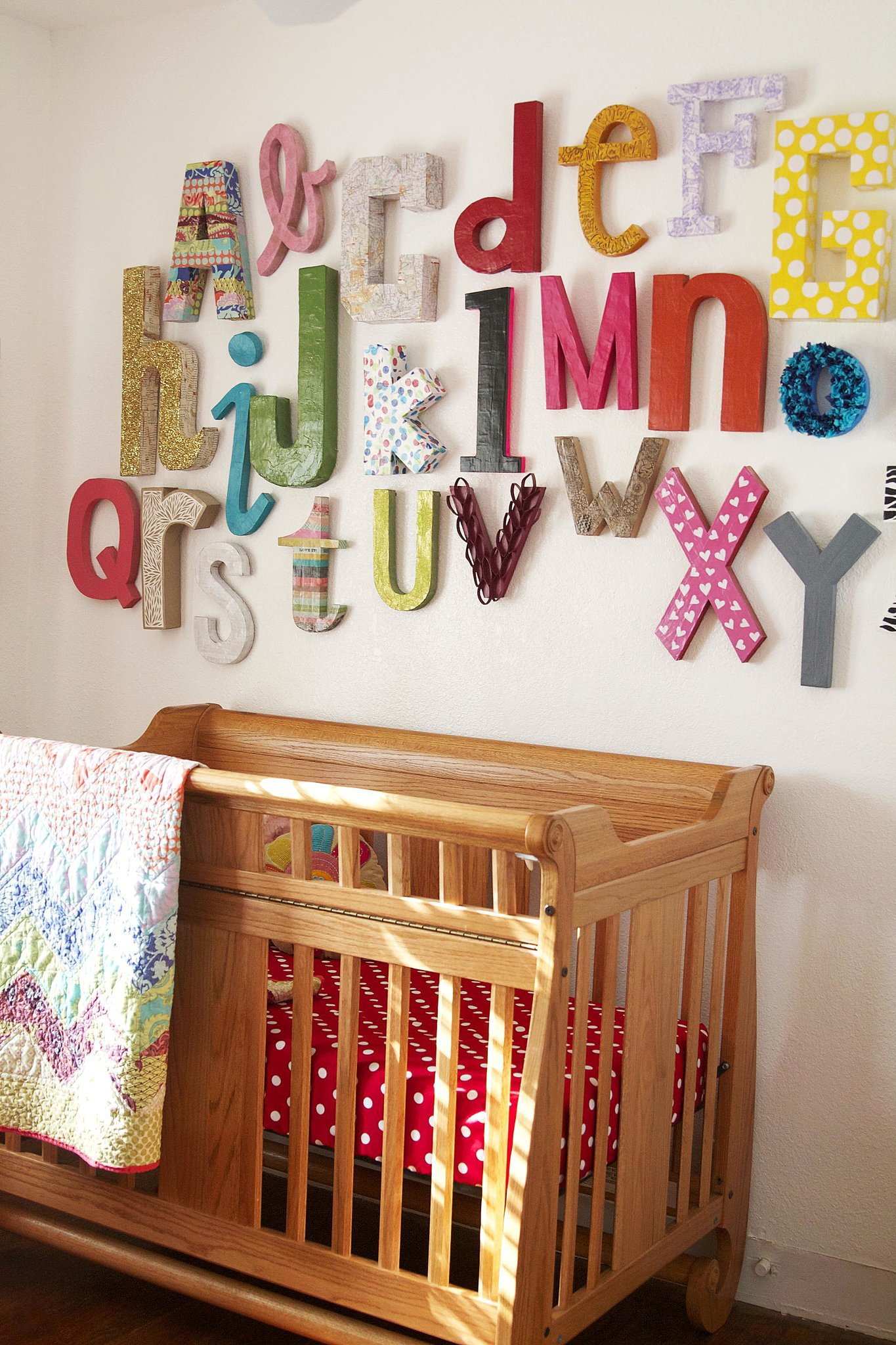 Wall alphabet 11 diy decor ideas for baby 39 s nursery for Baby room decoration letters