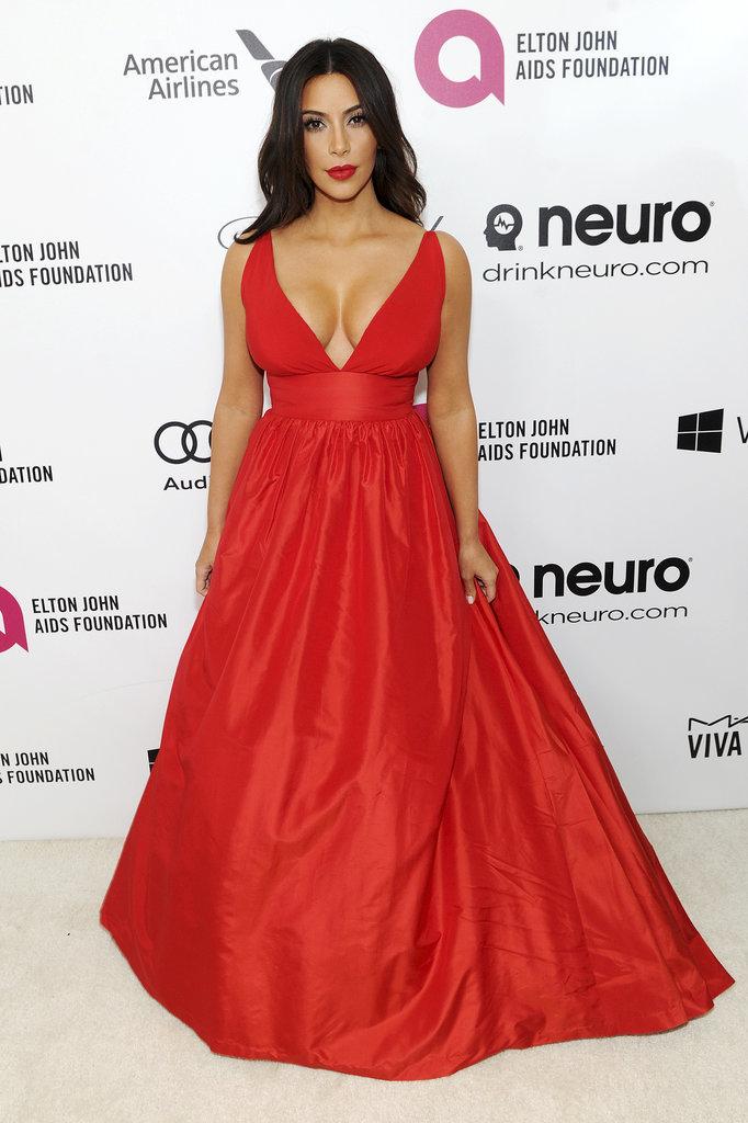 Kim Kardashian at the 2014 Annual Elton John AIDS Foundation Academy Awards Viewing Party