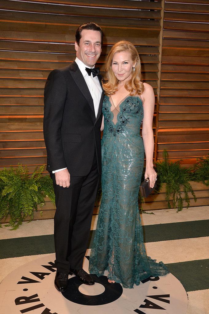 Jon Hamm and Jennifer Westfeldt linked up for photos at the Vanity Fair Oscars party.
