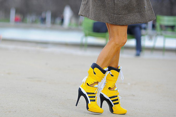 Anna Dello Russo's athletic-inspired boots aren't exactly for playing sports.  Source: Gorunway.com/Matteo Catena