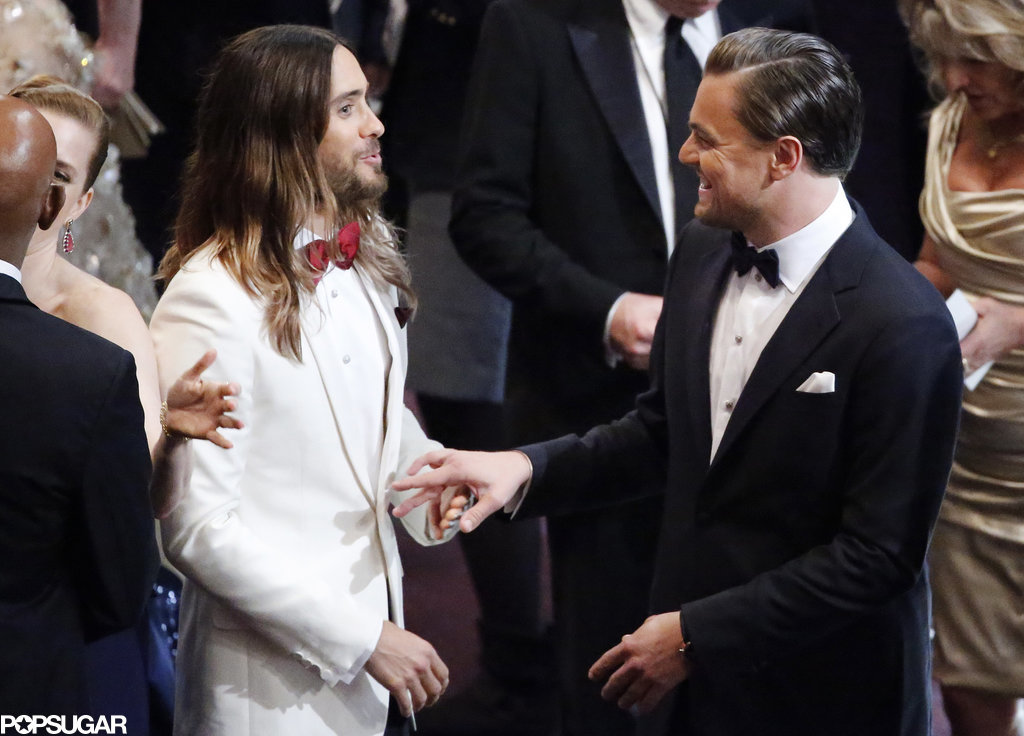 Nominees Leonardo DiCaprio and Jared Leto chatted in the crowd.