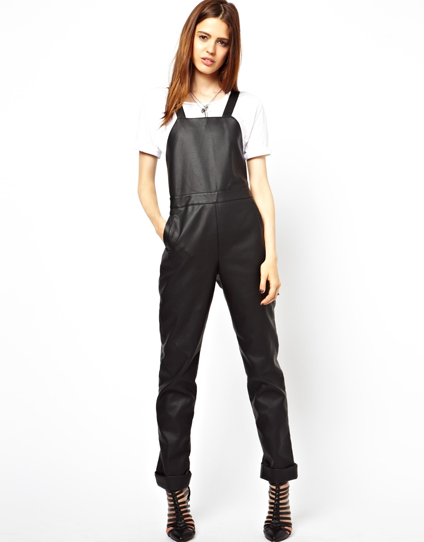 ASOS faux leather black overalls ($41, originally $122)