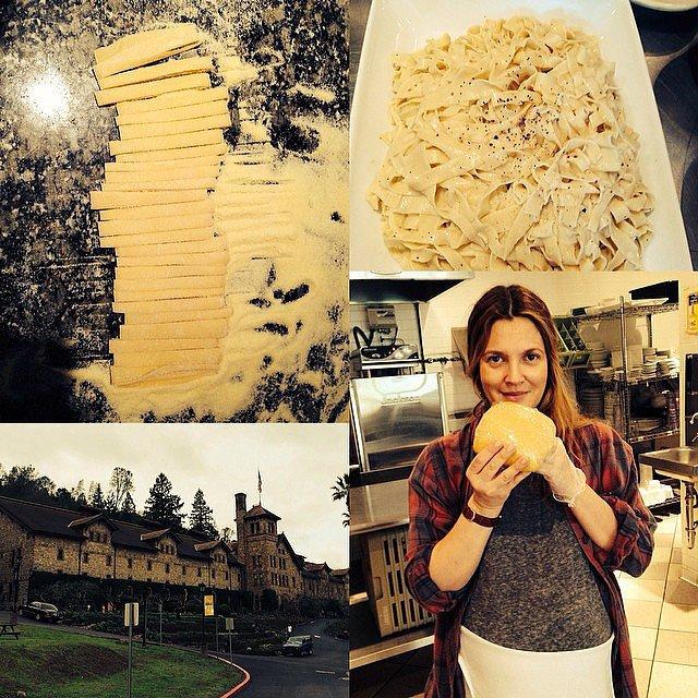 Drew got to work making fresh pasta.  Source: Instagram user drewbarrymore