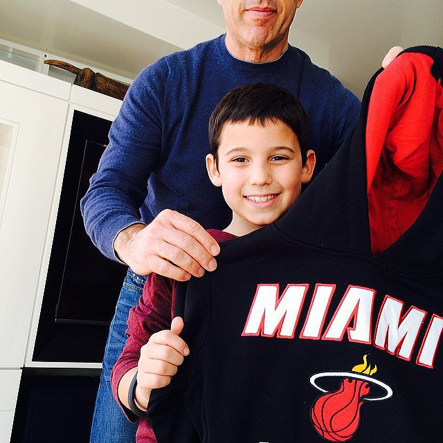 Julian Seinfeld was surprised with a Miami Heat sweatshirt for his 11th birthday. Source: Instagram user jessicaseinfeld