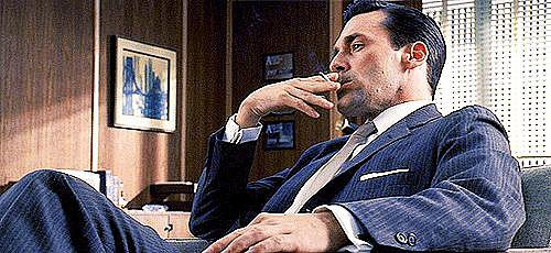 Don Draper looks great just sitting back and chilling.
