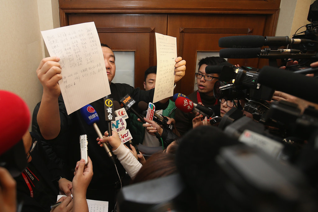 The delegate of the passengers' families issued a statement at the Lido Hotel in Beijing on Sunday.