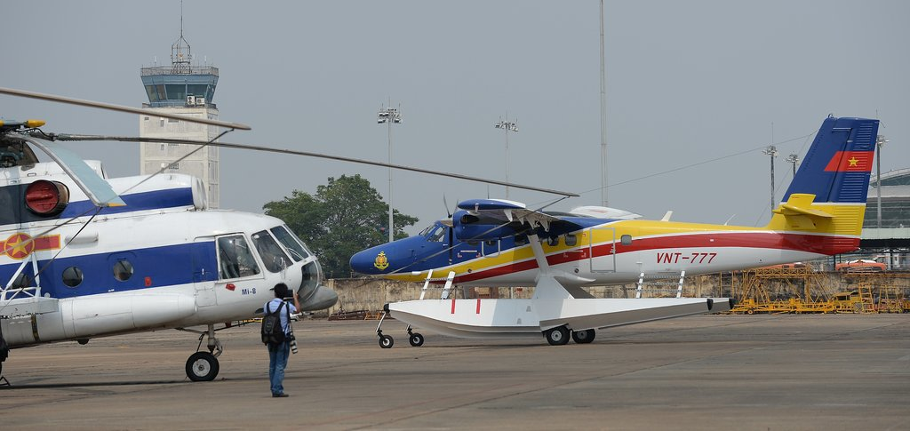 A seaplane used in the search efforts prepared for takeoff at a military airport in Ho Chi Minh City, Vietnam, on Sunday.