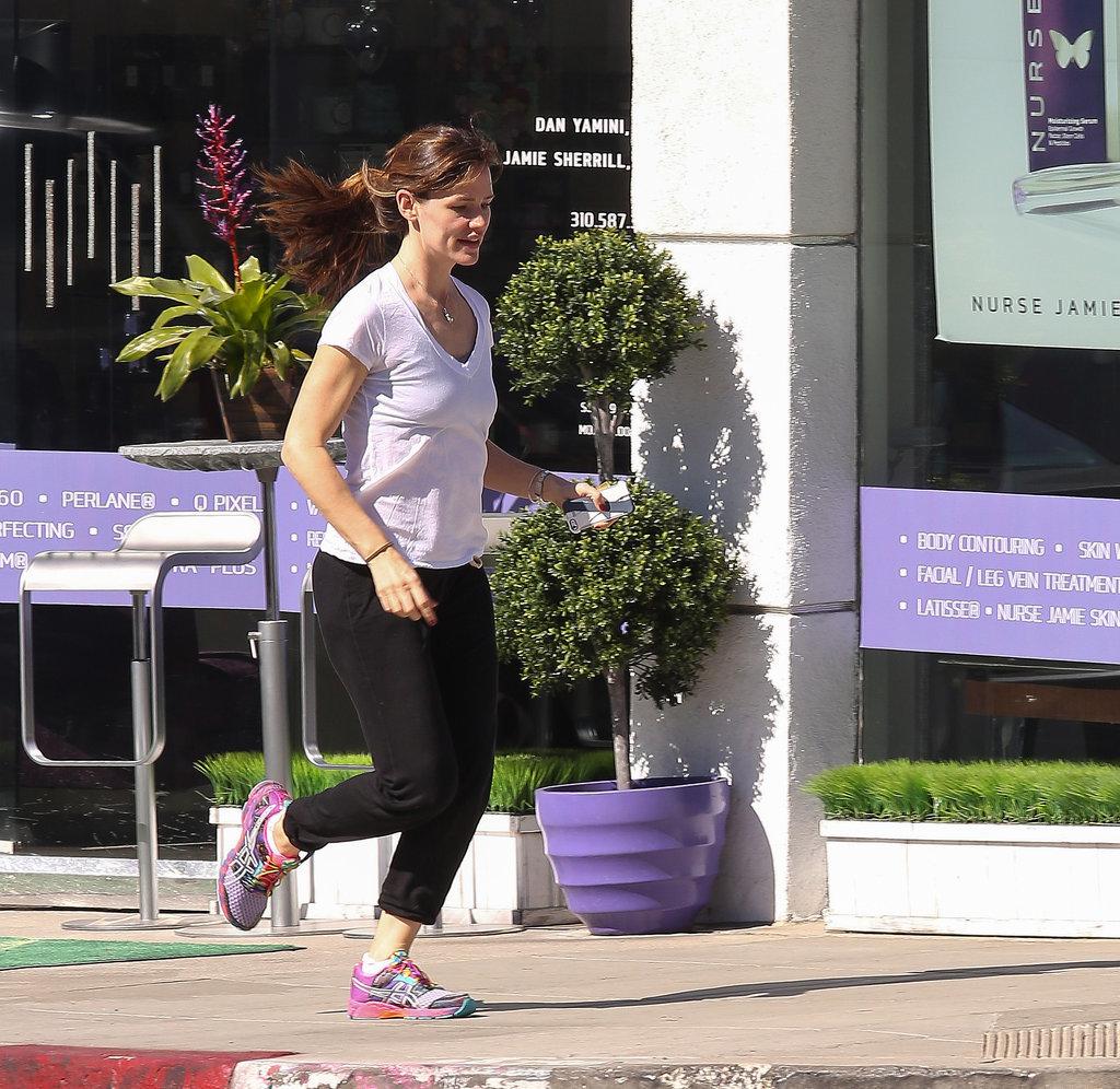 Jennifer Garner put her tennis shoes to work after a spa visit in LA.