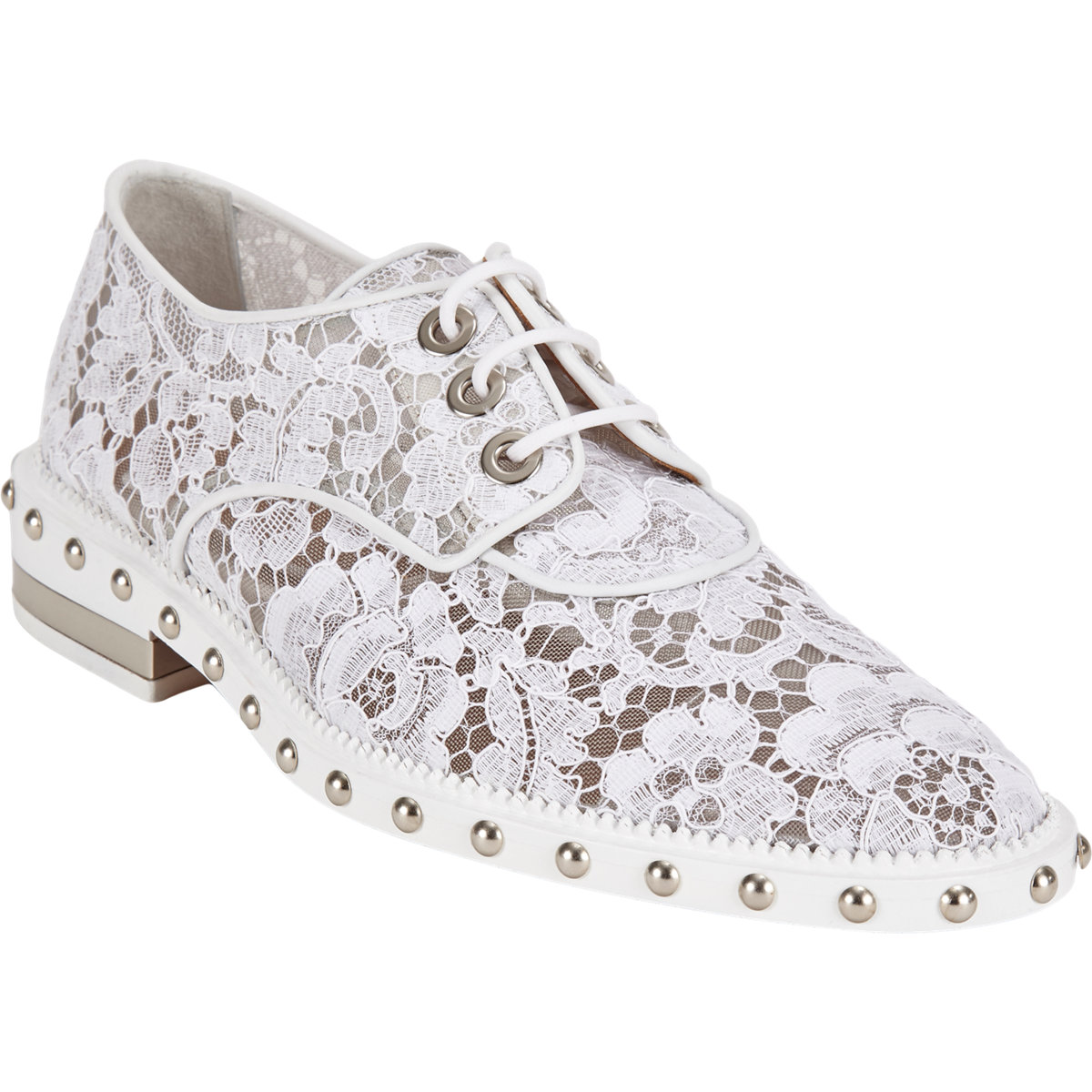 Givenchy White Lace Studded Lace-Up Oxfords ($1,295)