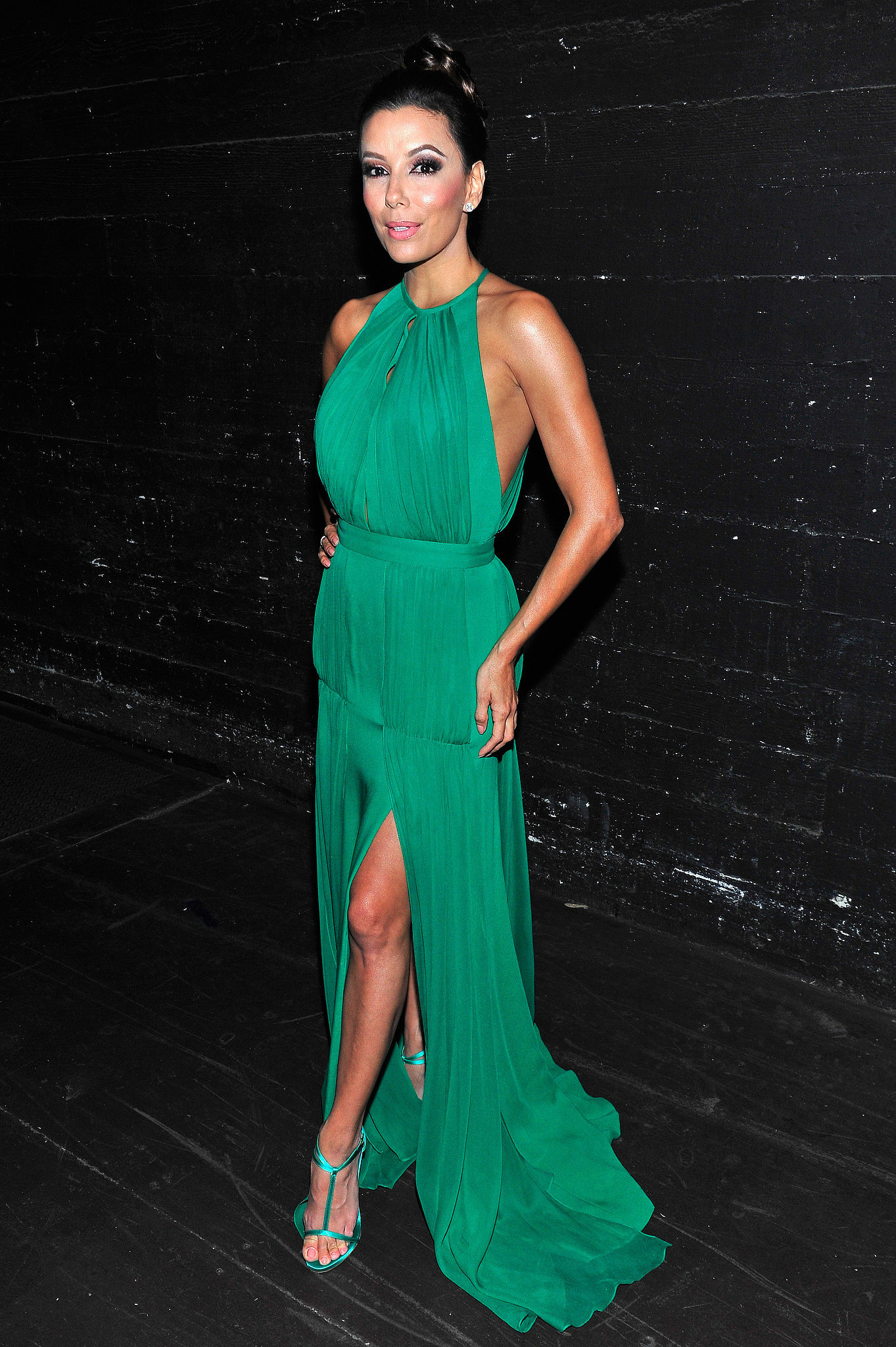Longoria took a break from cohosting the 2013 ALMA Awards to slip into an aww-inducing emerald Randi Rahm gown.
