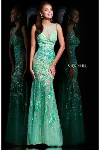 Sherri Hill 9708 Long Prom Dress Beaded Mint