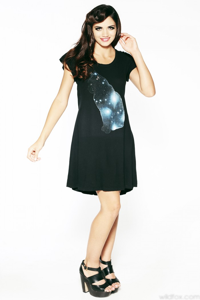 Forget the open back scoop neckline, the best thing about this galaxy dress ($168) is the sparkly blue kitty.