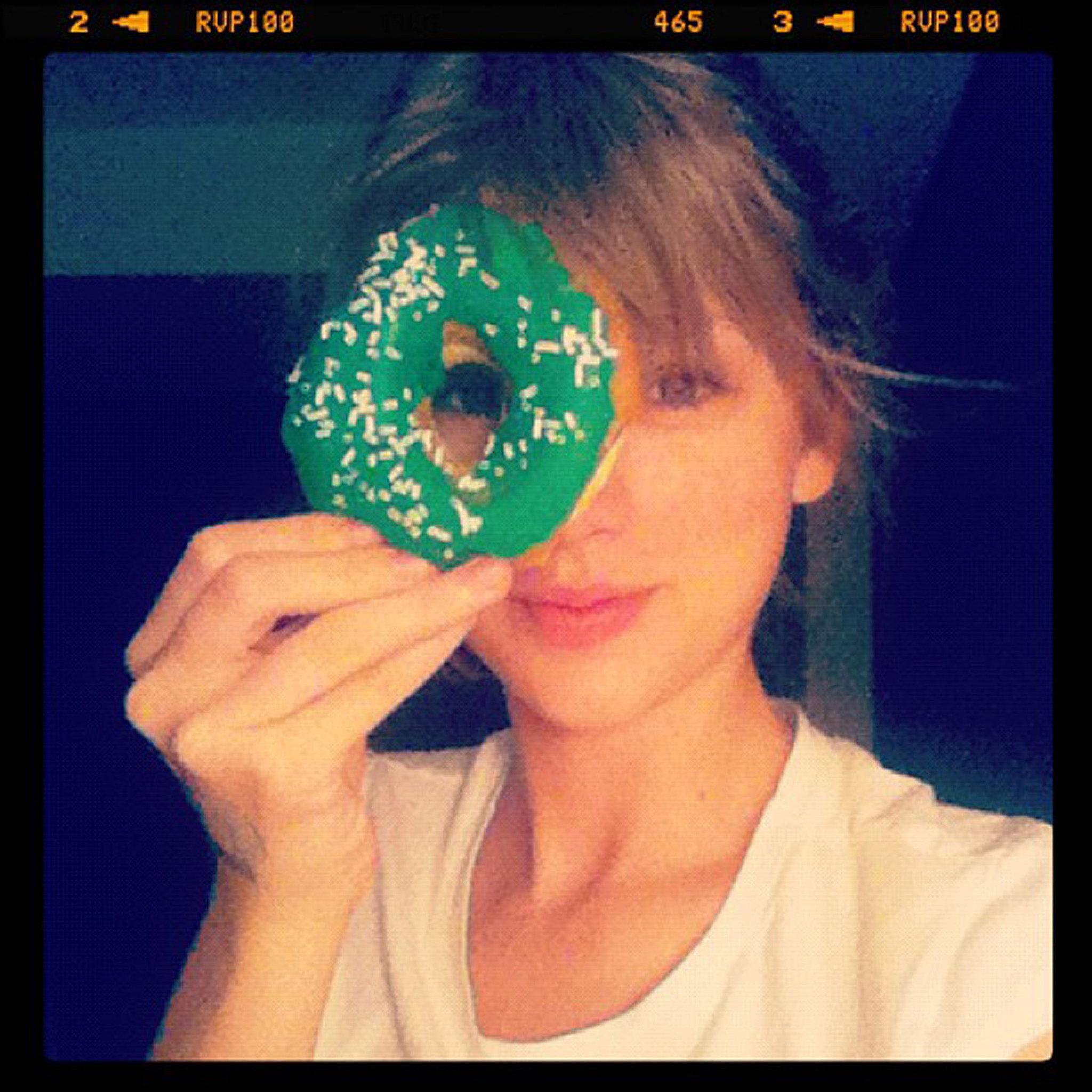 Taylor Swift spent St. Patrick's Day enjoying a festive March doughnut in 2012.  Source: Instagram user taylorswift