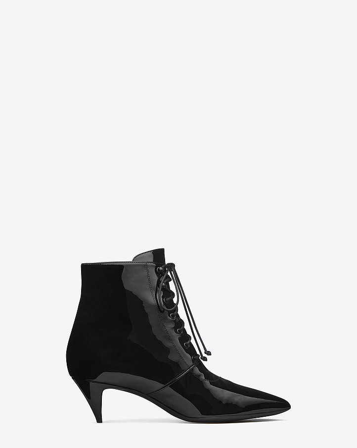 Saint Laurent Cat Boot in Black Patent Leather