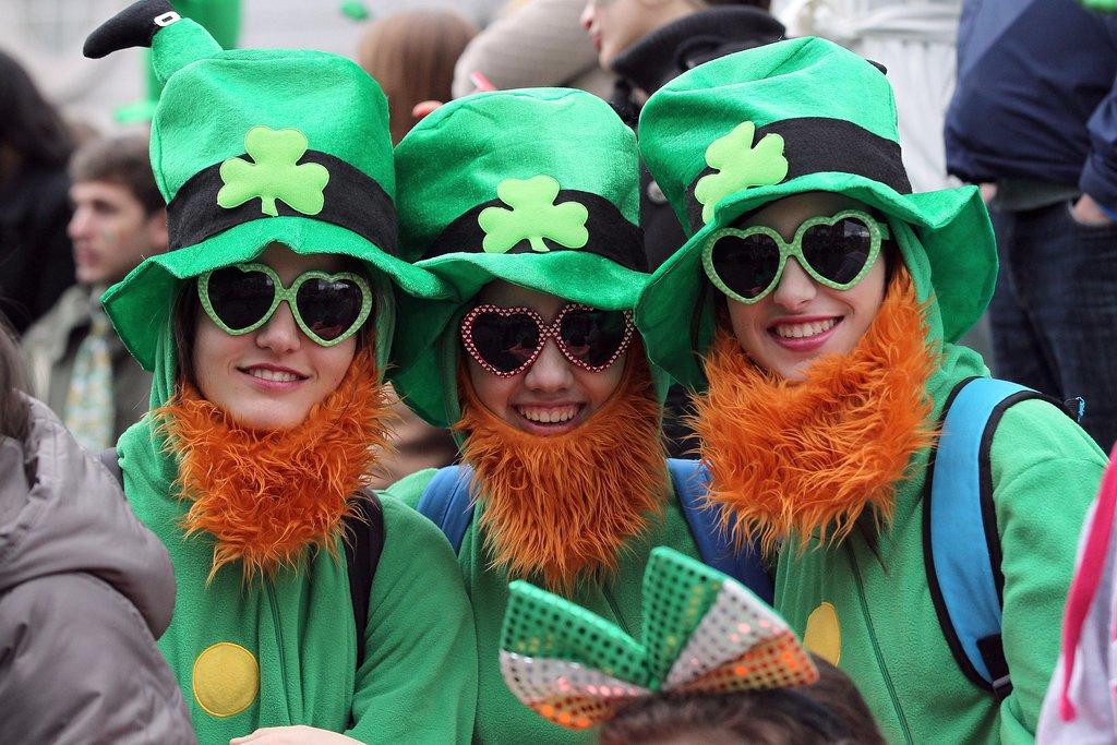 Women rocked bright beards for Dublin's parade.