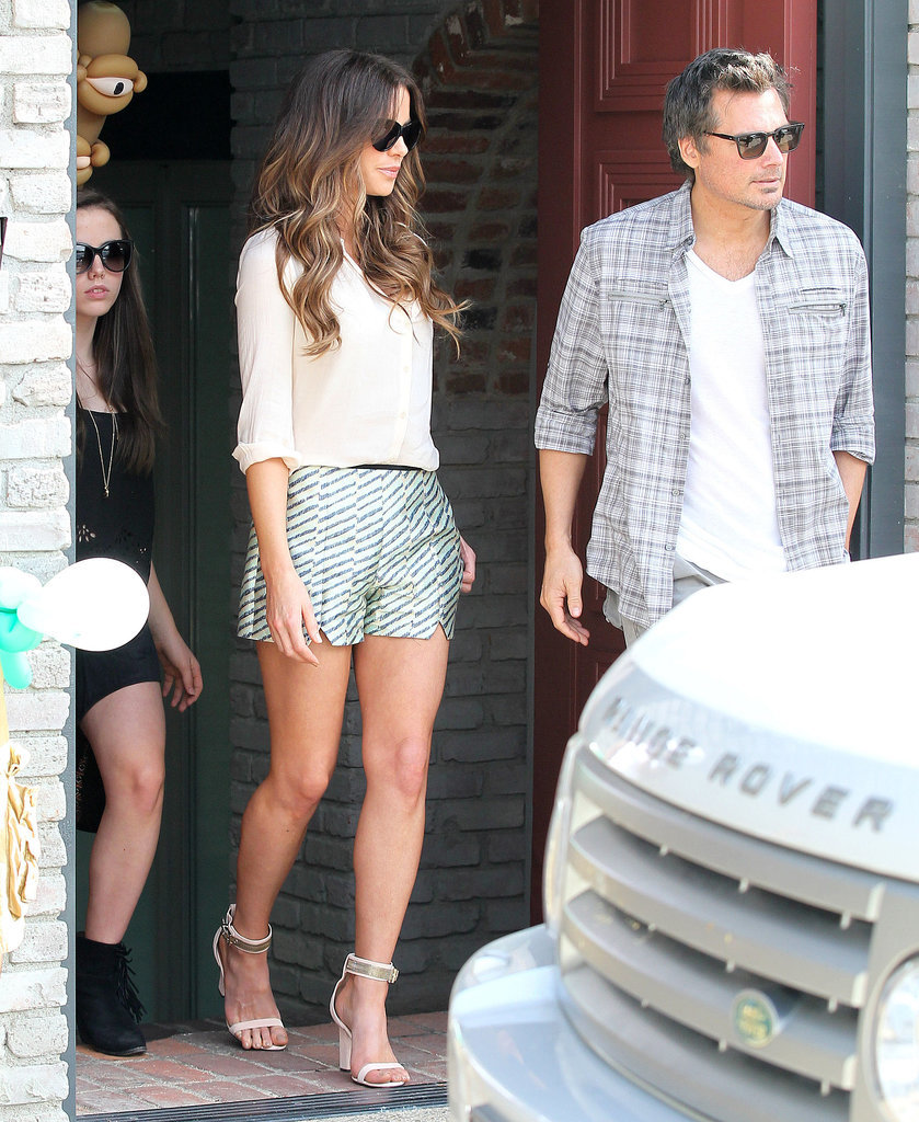 Kate Beckinsale in Metallic Shorts and Heels