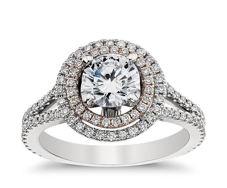 Monique Lhuillier Double Halo Engagement Ring $3 000 for setting