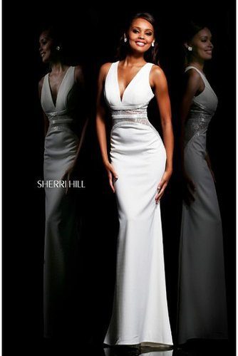 Sherri Hill 11067 Ivory 2014 Long Open Back Gown