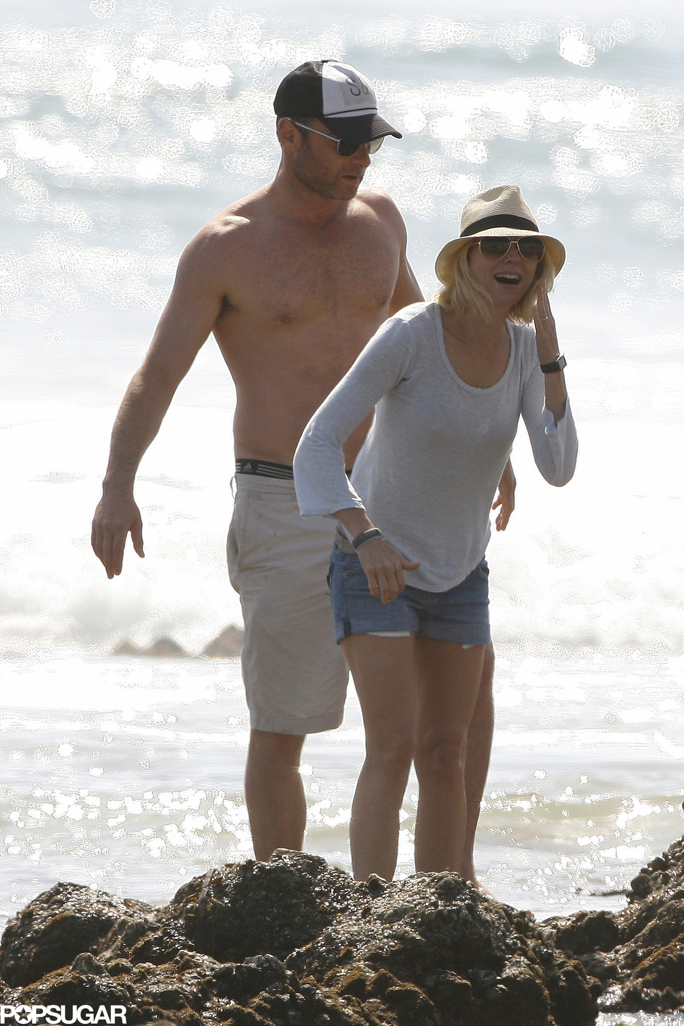Naomi Watts and Liev Schreiber had a laugh while on the beach in Malibu in March 2013.