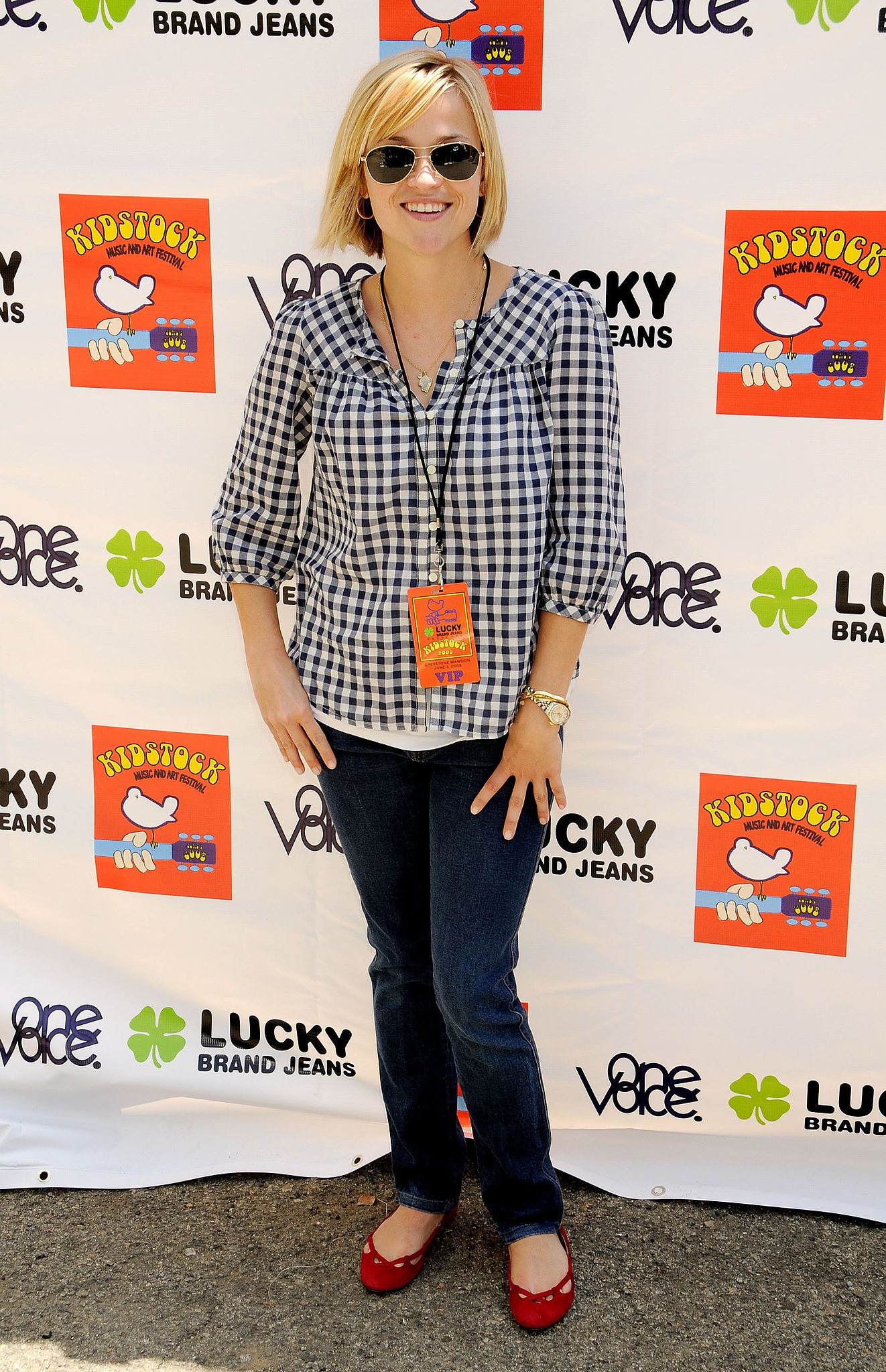 Reese Witherspoon in Gingham Top and Red Flats