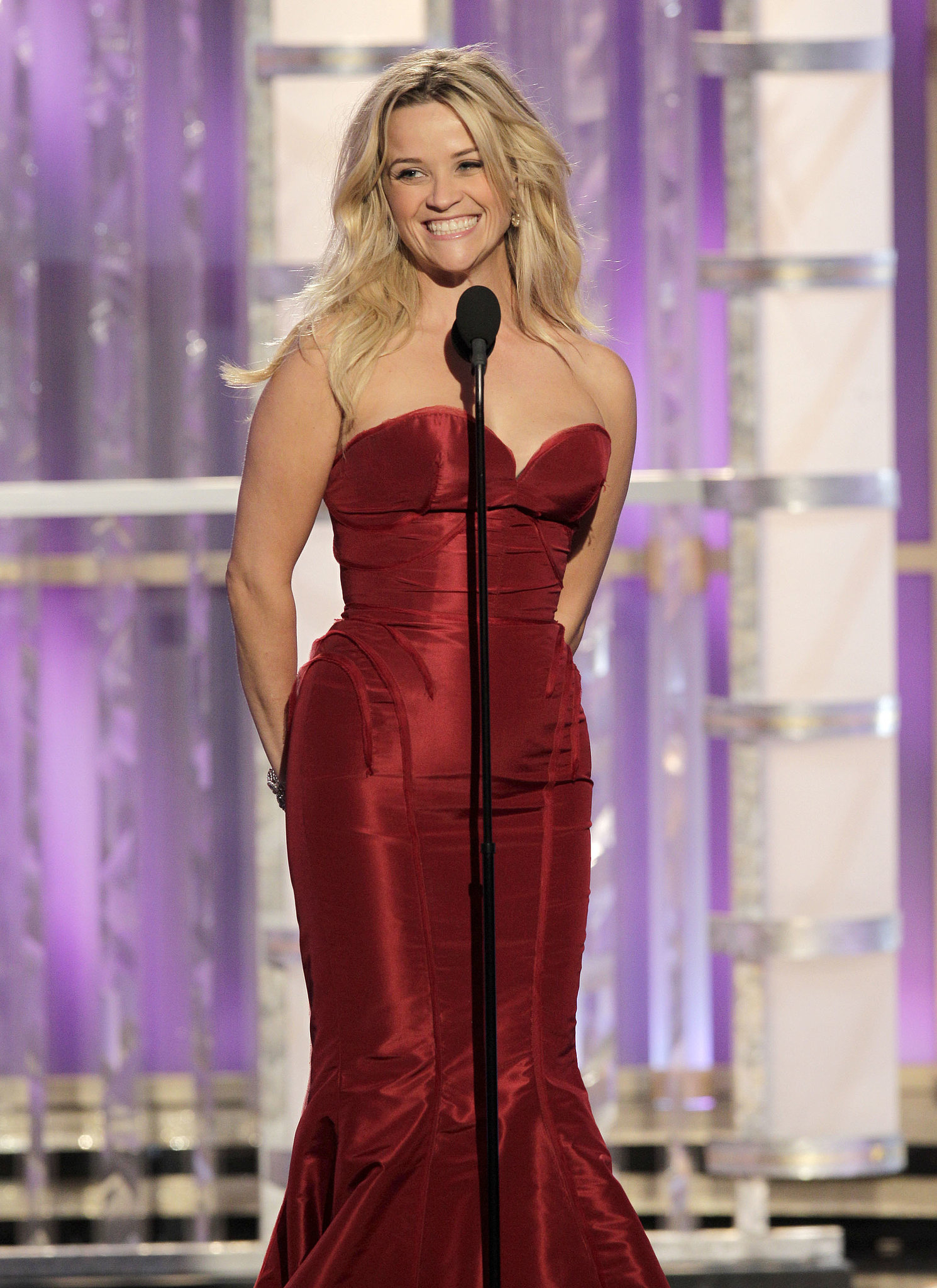 She was a vision in red while presenting an award at the Golden Globes in January 2012 in LA.
