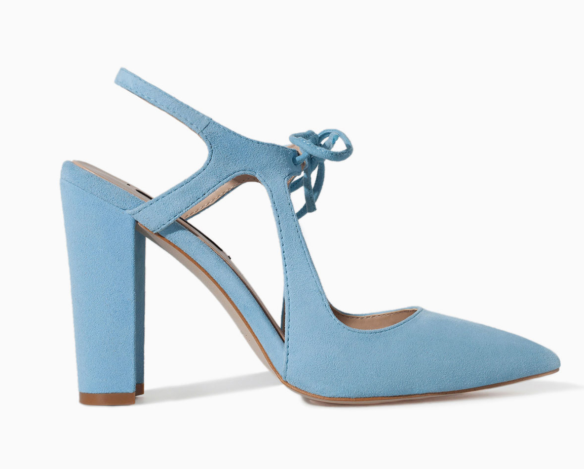 Zara light blue heel with bow ($100)