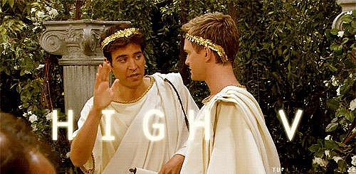 """Or a throwback """"High V"""" in togas."""
