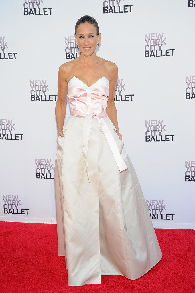 SJP stepped out in a pastel pink silk and satin Prabal Gurung x Olivier Theyskens creation for the New York City Ballet's Fall Gala in 2013.