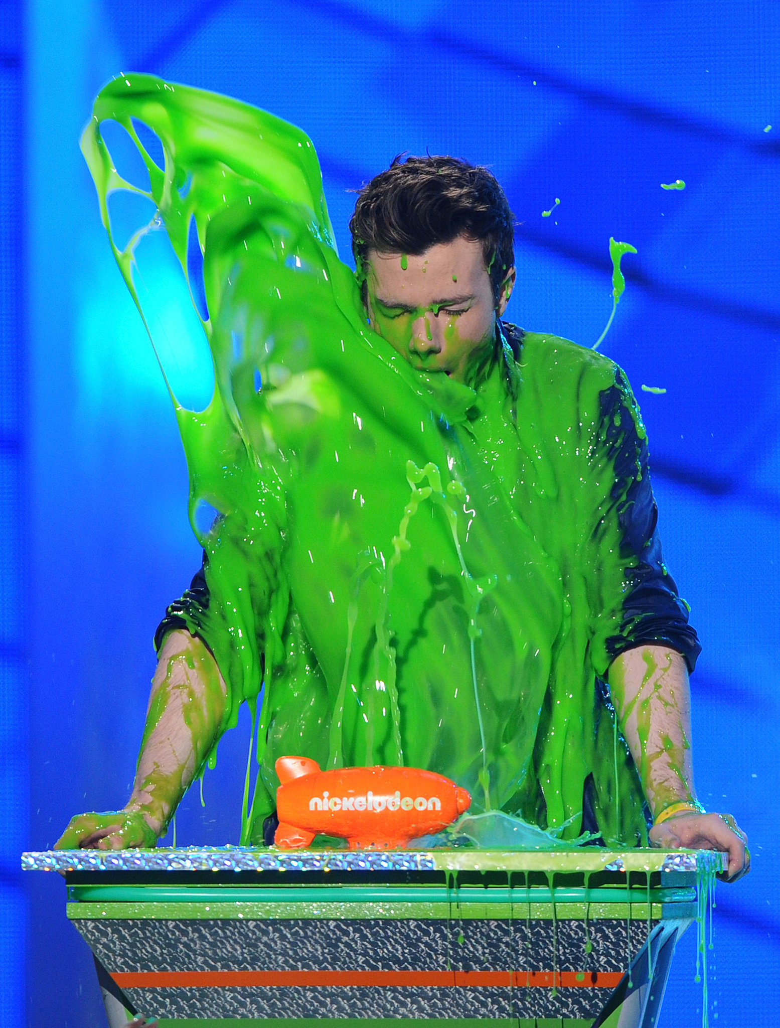 Chris Colfer got a face full of slime in 2012.