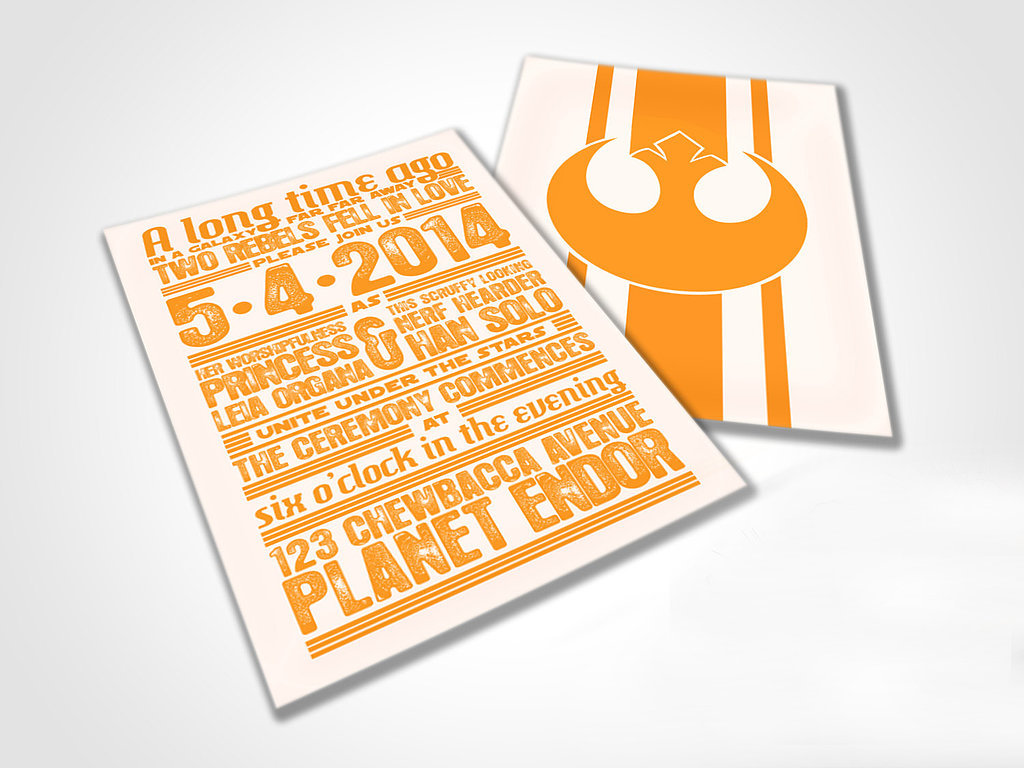 "Star Wars-themed ""rebels in love"" wedding invites ($500 for 100)? Done and done."