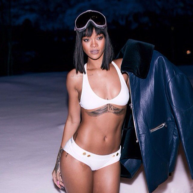 Rihanna wears bikinis, even in the snow. Source: Instagram user badgalriri