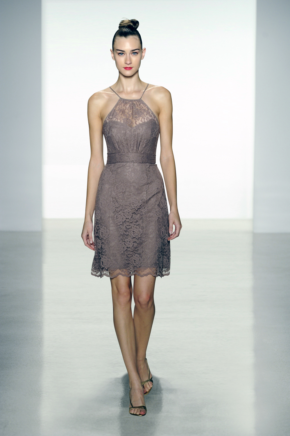 Amsale lace halter knee-length bridesmaid dress in truffle Photo courtesy of Amsale