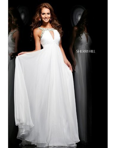 2014 Sherri Hill 11109 Beaded Cutout White Prom DressesOutlet