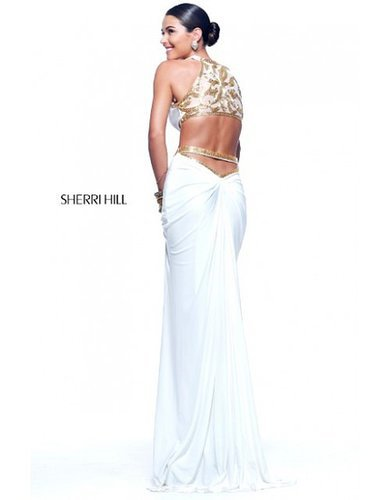 2014 Sherri Hill 11124 Cutout Waist Ivory Prom DressOutlet