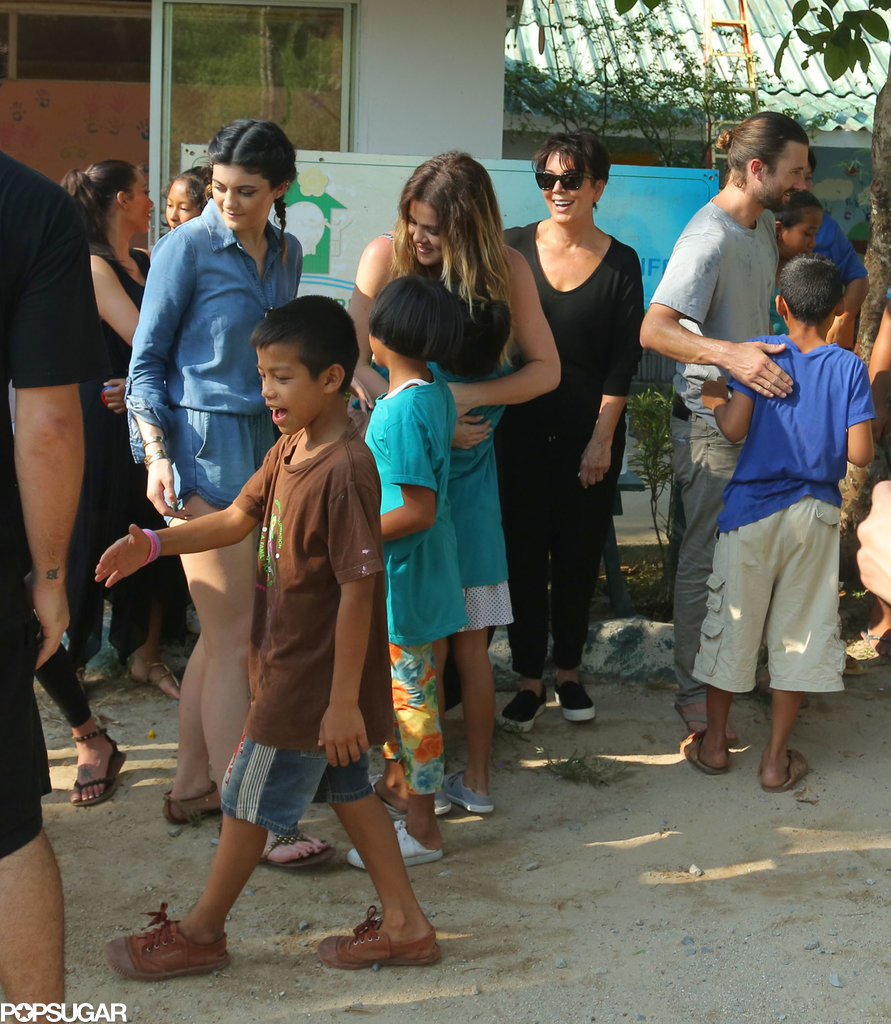 Khloe and Kris greeted children at the orphanage.