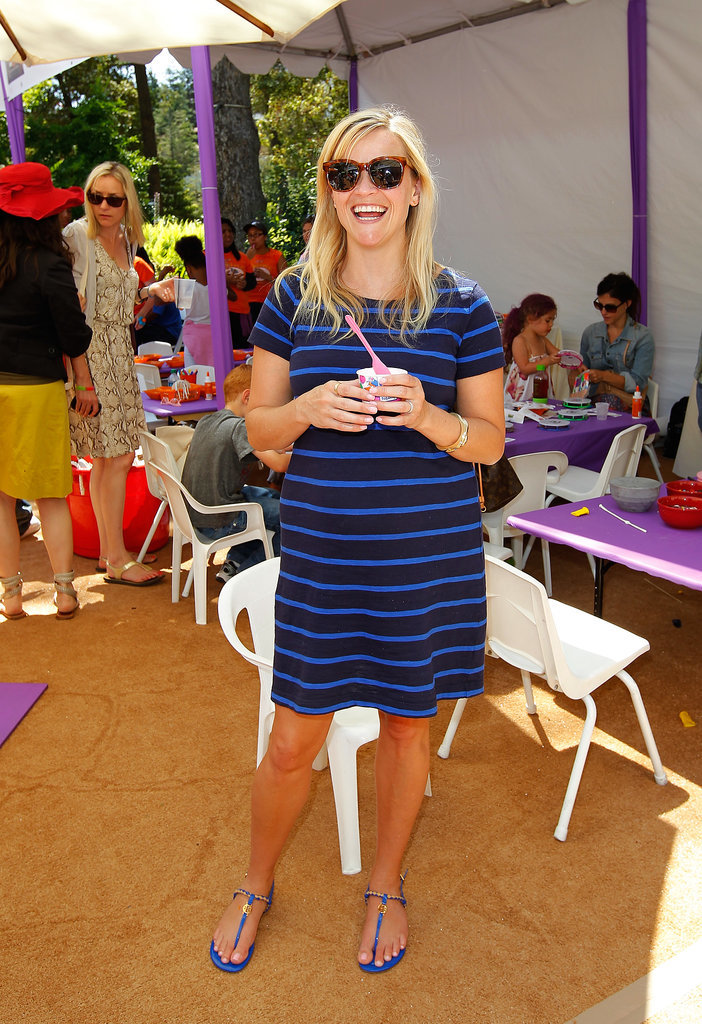 Reese Witherspoon in Blue Striped Gap Dress and Tory Burch Sandals