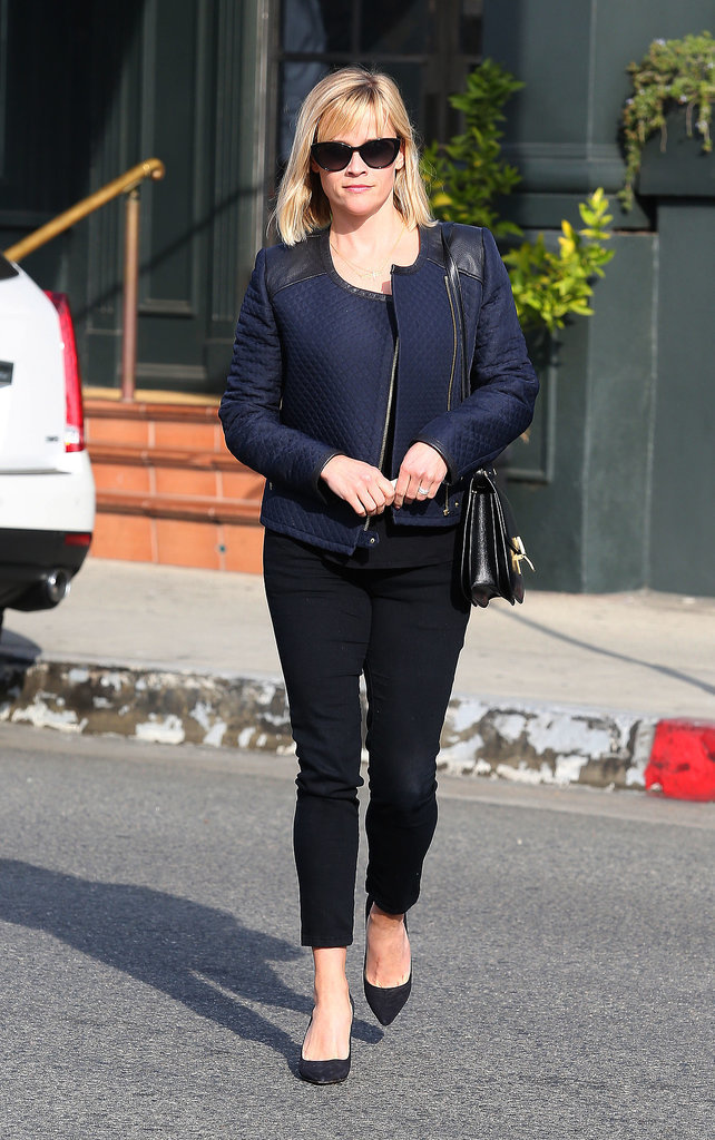 Reese Witherspoon in Navy Club Monaco Jacket
