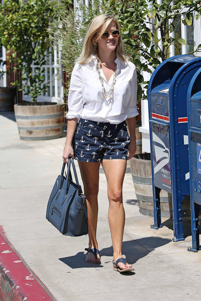 Reese Witherspoon in Anchor-Print J.Crew Shorts