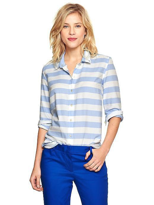 Gap Thick Blue  White Stripe Oxford Shirt - Kate Middleton N