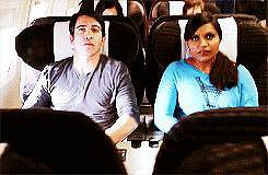 Airplanes are a special setting on this show, for moments like this one, when Danny reaches for Mindy's hand in a scary moment of turbulence.