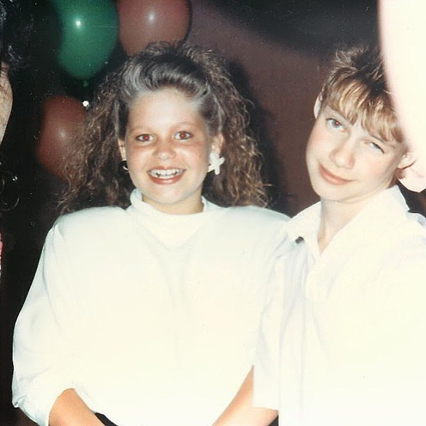 "Andrea: ""Pretty sure I was just jealous of @candacecbure's XO earrings in this photo. 1989. #throwbackthursday"""
