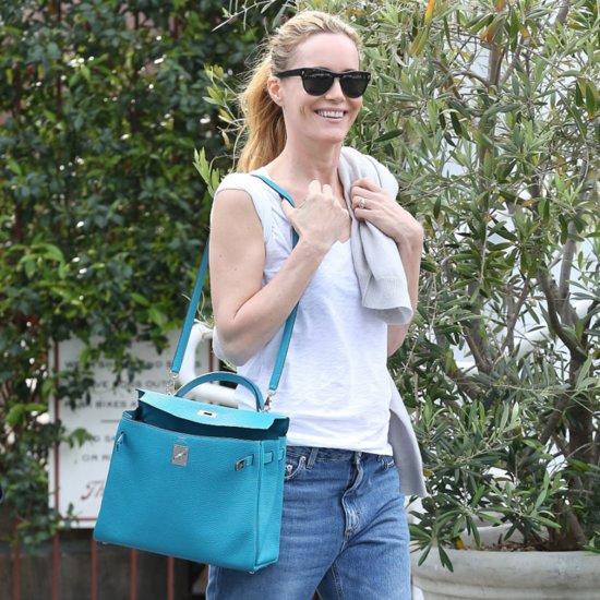 Leslie Mann Carrying Blue Hermes Bag